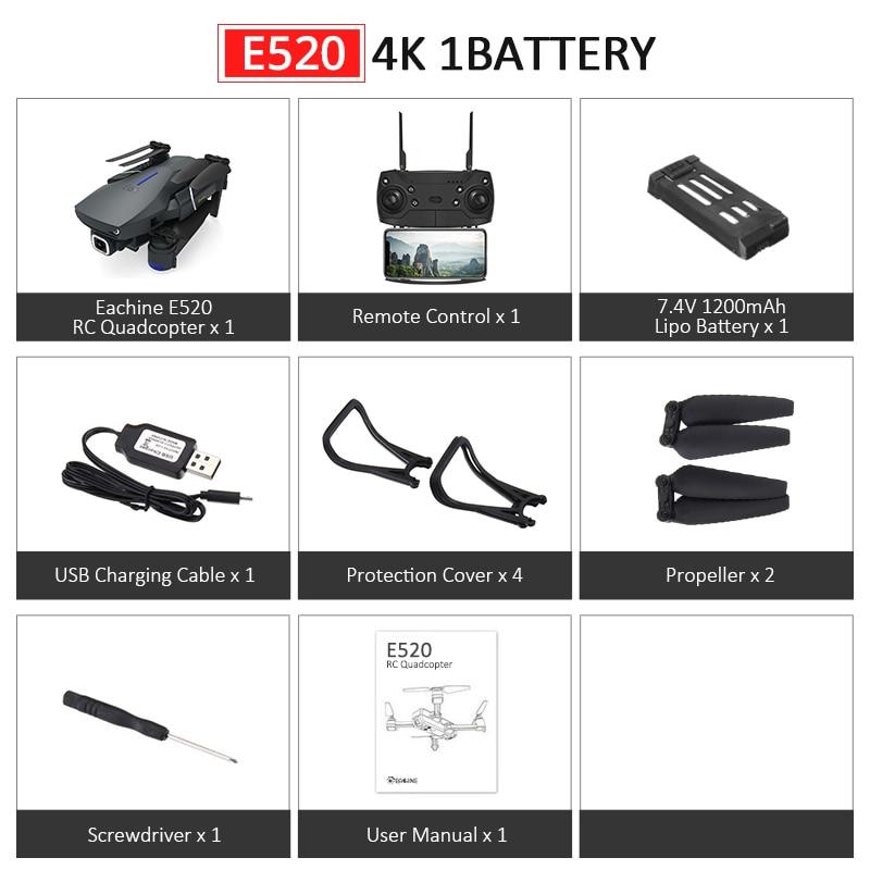 Eachine E520S E520 gps FOLLOW ME wifi FPV Квадрокоптер с 4 K/1080 P HD широкоугольная камера Складная Высота удержания прочный Радиоуправляемый Дрон - Цвет: E520 4K 1Battery