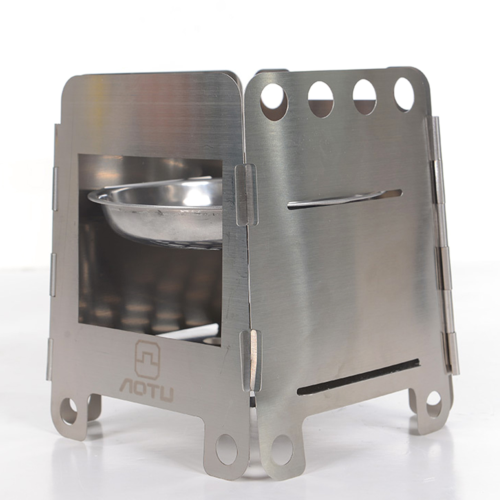 Outdoor Stainless Steel Camping Stove Portable Ultralight Folding Wood Stove with Alcohol Tray for Fishing Hiking Camping Tool image