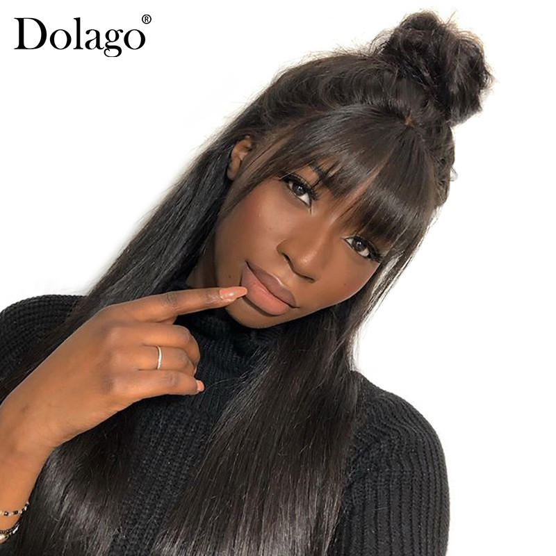 360 Lace Frontal Wig With Bangs 13x6 Straight Lace Front Human Hair Wigs 250 Density Brazilian 370 Fake Scalp Full Lace Dolago