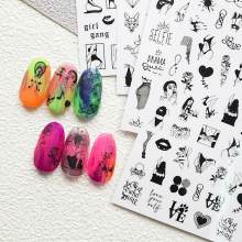 2020 DIY Black Color Nail Art Sticker Adhesive Sticker Decals Tool