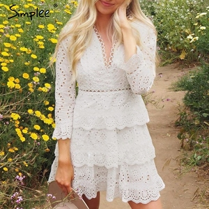 Image 2 - Simplee Hollow out cotton embroidery ruffled women dress A line v neck long sleeve female sexy dress Elegant party midi dress