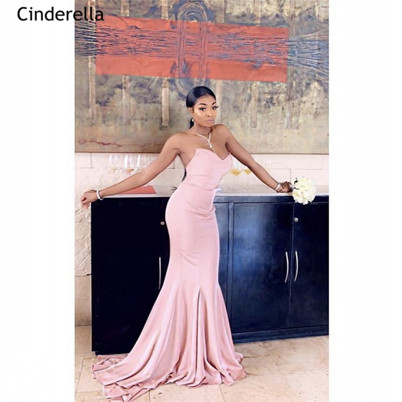Cinderella Lovely Pink Sweetheart Sweep Train Zipper Back Satin Mermaid Bridesmaid Dresses Wedding Party Bridesmaid Dresses
