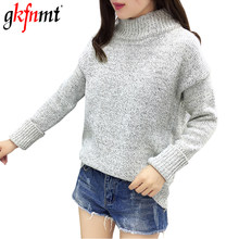 gkfnmt Turtleneck Women Knitting Sweater Korean Fashion Long Sleeve Solid Pullover And Jumper Loose Sweater Hot Sale 2019 Gray(China)