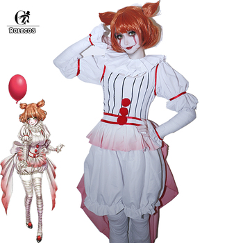 ROLECOS Anime It Cosplay Costume HORROR Pennywise Halloween Cosplay Clown Costume Outfit Women Girl Halloween Carnival Cosplay movie thor ragnarok cosplay thor odinson costume men thor cosplay costume thor 3 outfit halloween carnival costume for adult