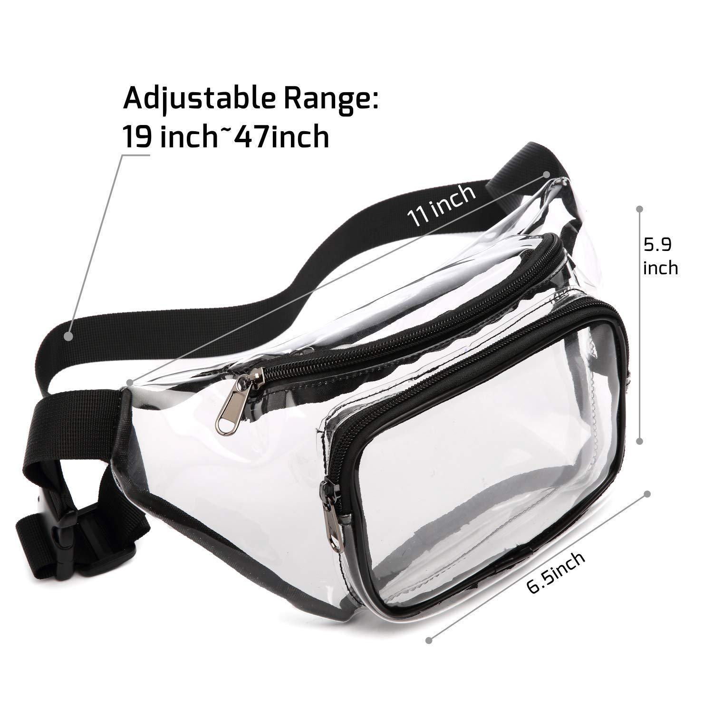 PVC Women Waist Fanny Pack Belt Bag Hip Bum Bag Clear Transparent Chest Pouch