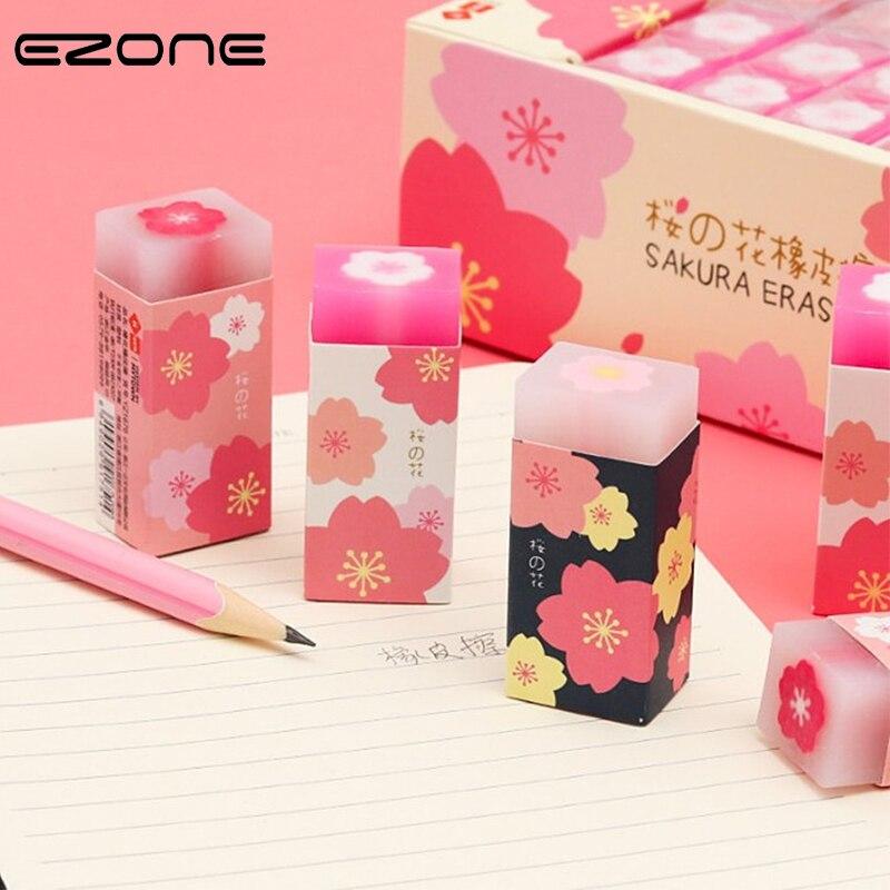 EZONE 1PC Sakura Jelly Eraser Transparent Pencil Eraser Pink Cherry Blossom Pattern School Office Stationery Supply Color Random