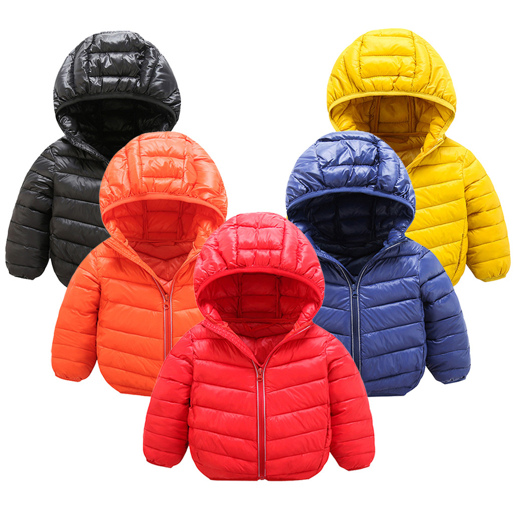 1-7 Year Baby Girls Boys Parka Light Kids Jacket Hooded Down Coat Children Winter Jacket Spring Fall Toddler Outerwear
