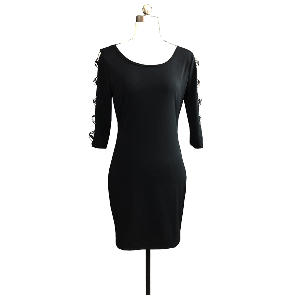 Hollow Out Sequined Women Dress Mini Bodycon Straight Party Sexy Dresses O-Neck Autumn Black Vestidos Womens Clothing SJ4407R