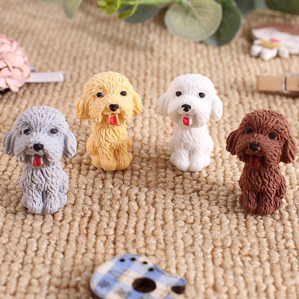4Pcs/lot Cute Cartoon Dog Eraser Kawaii Stationery Pencil Rubber Eraser Student Kids Gifts School Office Supplies