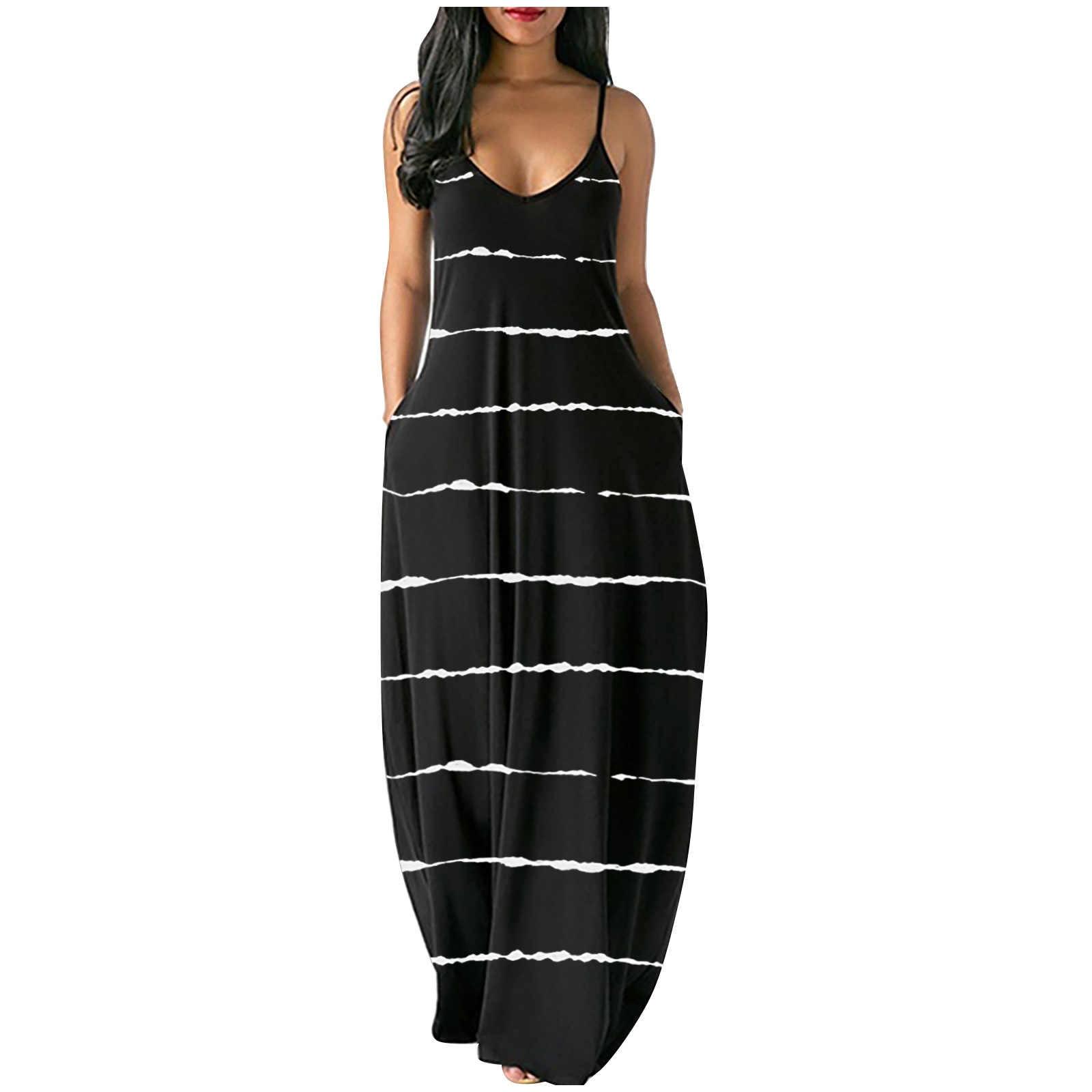 Womens Spaghetti Strap Maxi Dresses Rainbow Striped Loose V Neck Beach Dress Summer Causal Swing Long Sundress