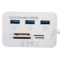 portable aluminum New Aluminum Portable USB 3.0 3 Port Hub With MS SD M2 TF Multi-In-1 Card Reader For All in One PC Computer Accessories (5)