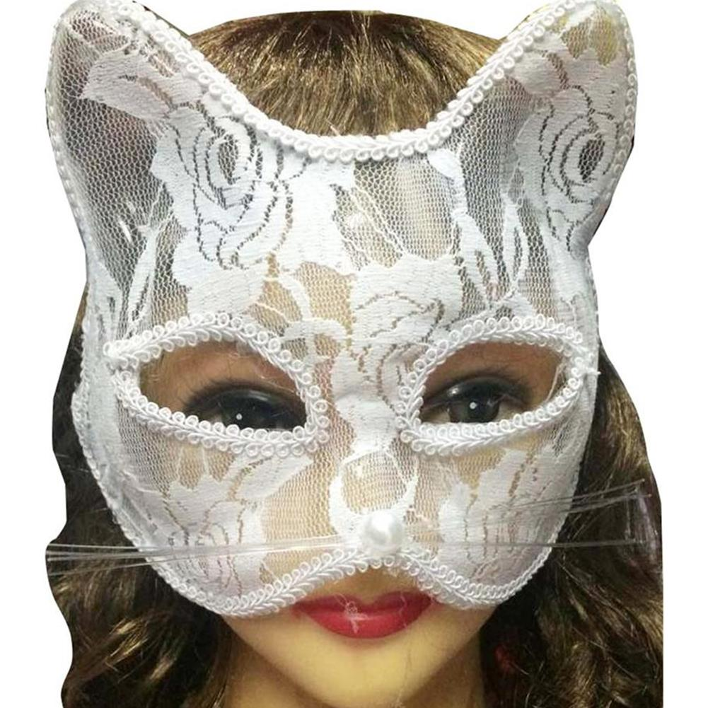 Women <font><b>Sexy</b></font> <font><b>Lace</b></font> Fox Cat Face Eye <font><b>Mask</b></font> <font><b>Halloween</b></font> Party Dance Role Playing Prop Role Playing Prop, <font><b>Lace</b></font> with Bead Design, <font><b>Sexy</b></font> image