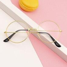 Glasses-Frame Round Without-Degree Women New Retro Myopia Fashion Flat Male Student