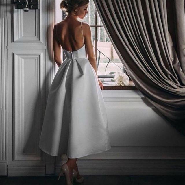 Ivory short plus size satin prom party evening dresses vestido de noiva sereia gown robe de soiree frock 2020 pleat spaghetti 3