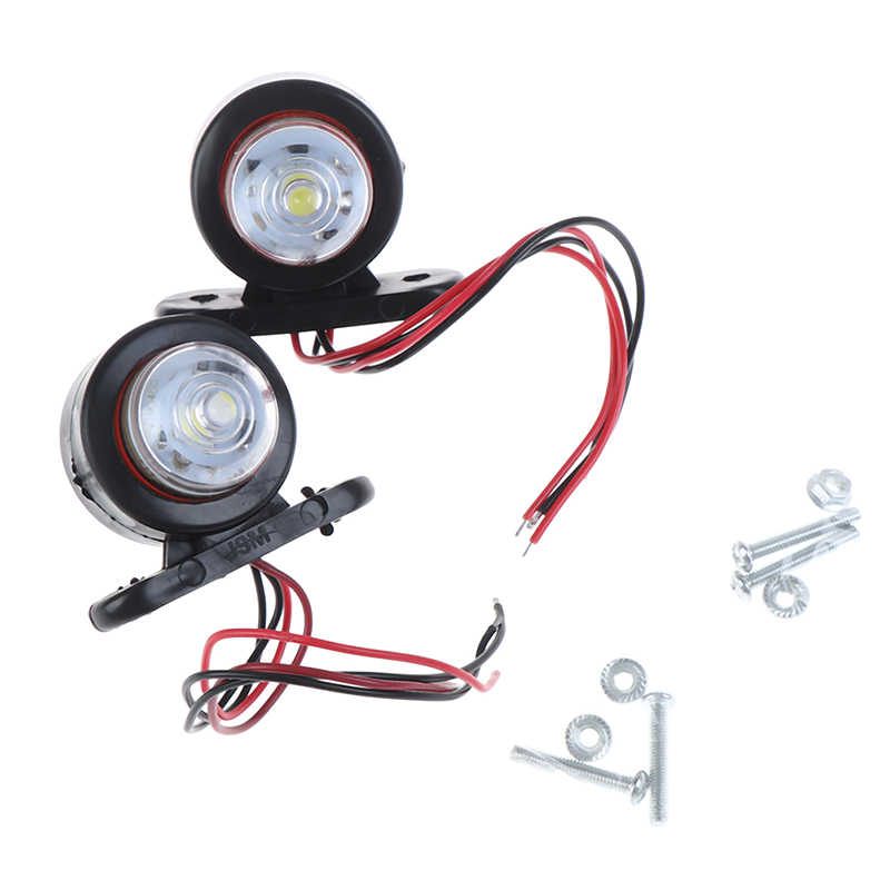 Luz de led para caminhão de carro, 2 peças, luz lateral, para caminhão, branco, vermelho, luz indicadora, para lorry van caravans 10-30v