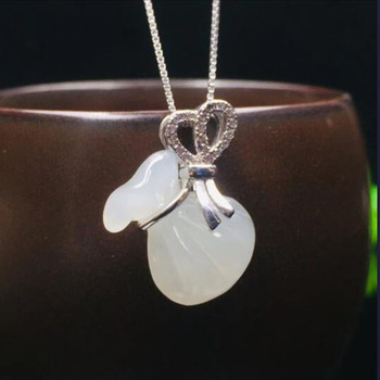 S925 Silver Chinese Hand-carved Hetian White Jade Purse Pendant Pendant Necklace Lucky Amulet Fine Jewelry