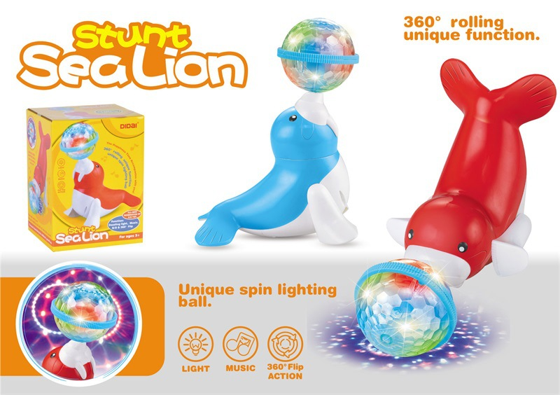 Fantasy Billiard Ball Light Sea Lions 360-Degree Flipping Electric Dancing Universal Sea Lions Light And Sound Sea Lions Toy