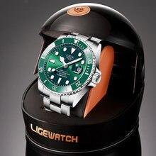 Lige брендовые роскошные мужские спортивные часы зеленые водонепроницаемые