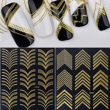 1 Sheet Ultrathin Metallic Hollow 3D Nail Stickers Set Gold Geometrical Line Decals Manicure Nail Art Decorations