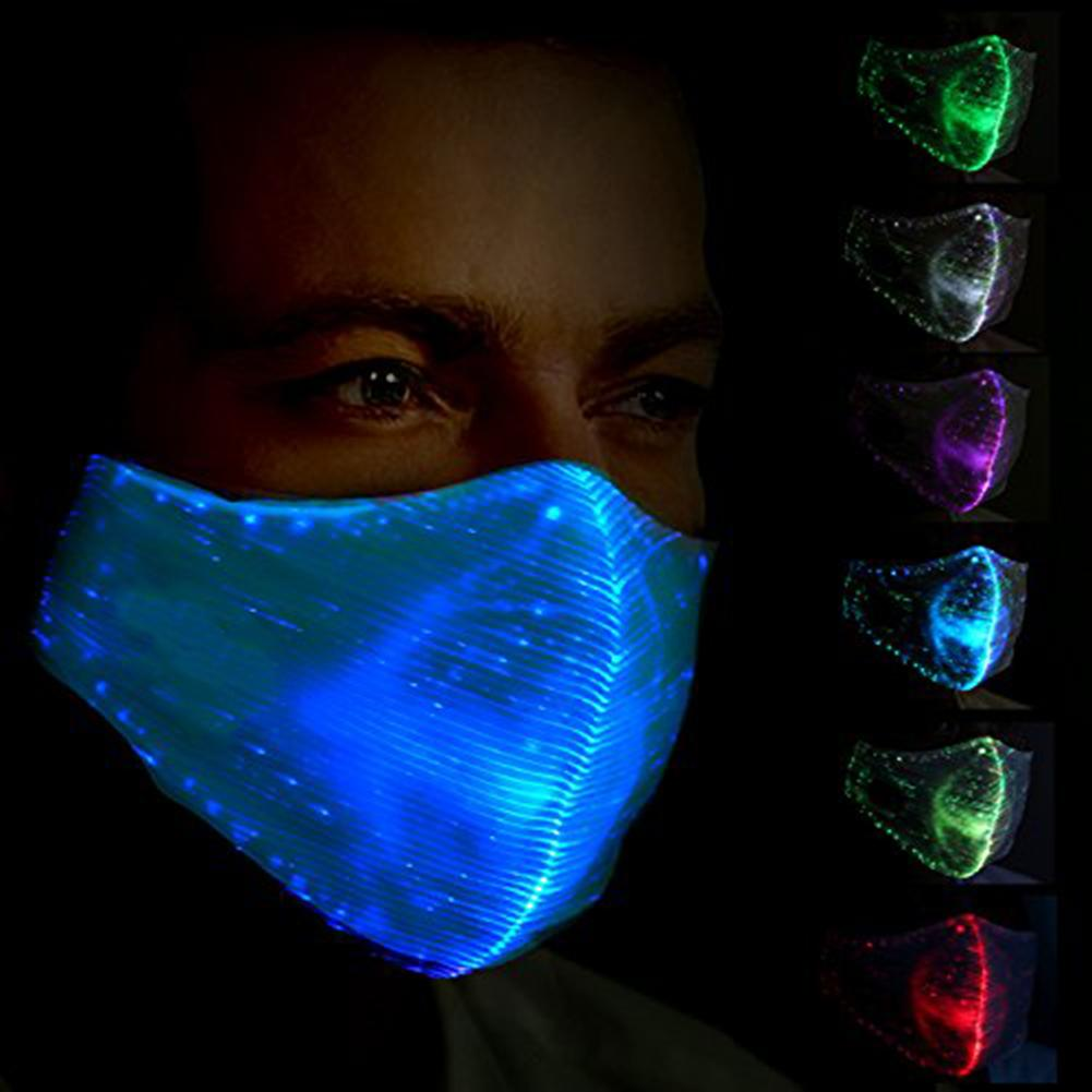 7 Colors Halloween Costume Men LED Light Mask Women Party Night Running Prop