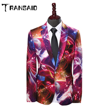 Men Suits New Space Pattern Print Fashion Casual Blazer Stag