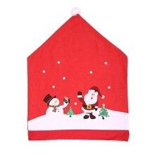 6 шт Санта Клаус Рождественская накладка на стул крышка нетканый обеденный стол красная шляпа чехлы на спинку стула рождественские украшения для дома
