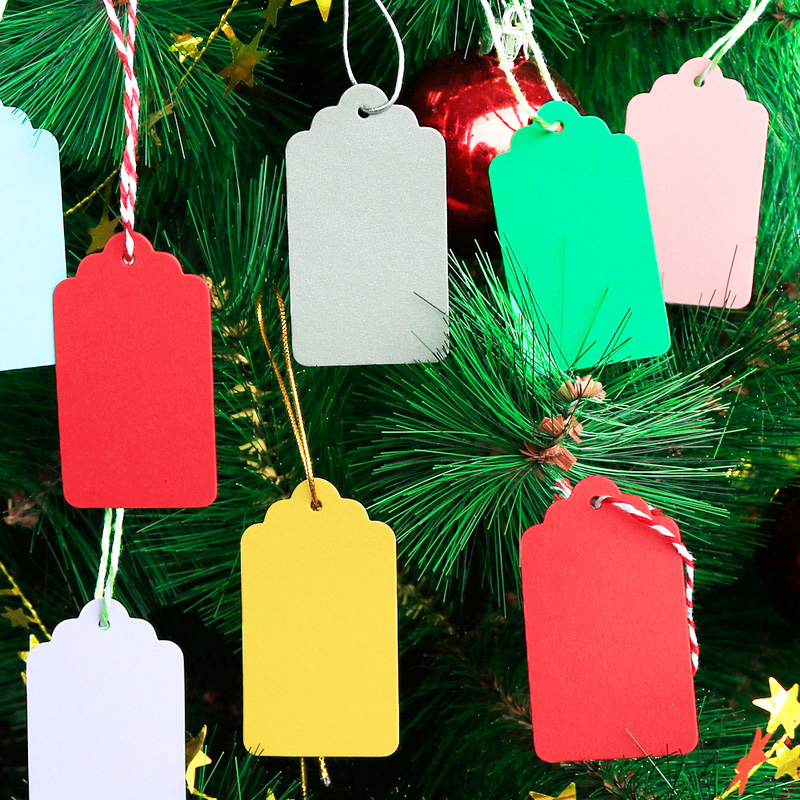 50pcs Gift Tags Colorful Gift Packaging Paper Hang Tag Wedding Birthday Party Bags Price Tags Label DIY Cloth Sewing Supply