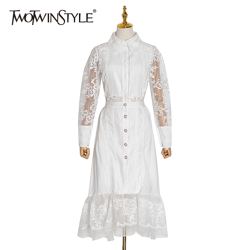 TWOTWINSTYLE Patchwork Lace Perspective Suits Female Embroidery Lantern Sleeve Blouse High Waist Skirts Women Two Piece Sets New