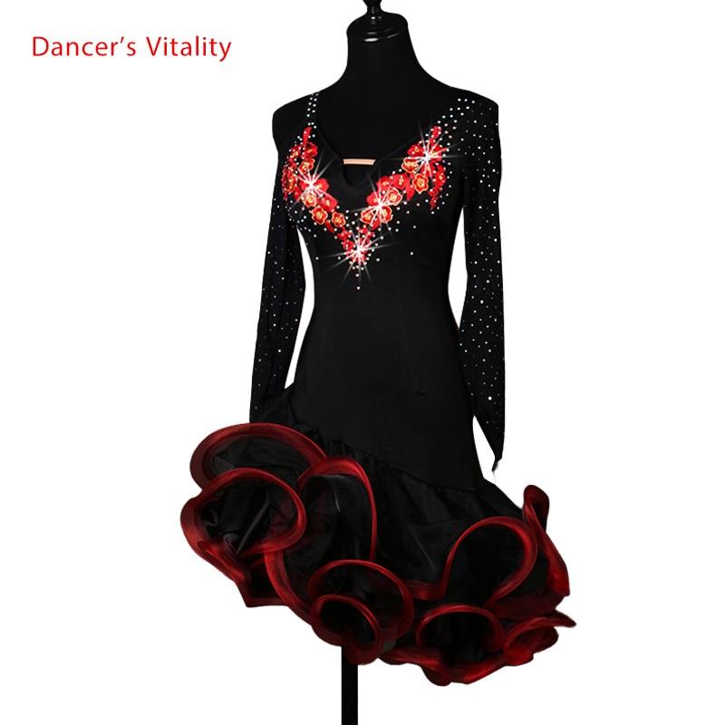 Szexi ruha latin táncruházat nőknek latin tánc Hímzés hosszú ujjú ruha lányok latin tánc ruha Cha-cha tánc ruha