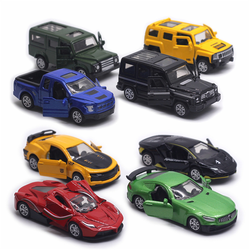 Diecast Scale 1:60 Pull Back Alloy Toy Car Model Metal Simulation SUV Sports Racing Car Model Set Kids Hot Sales Toys For Boys