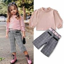 Милые комплекты одежды для маленьких девочек От 1 до 6 лет топы с длинными рукавами и рюшами+ клетчатые штаны+ пояс, одежда из 3 предметов