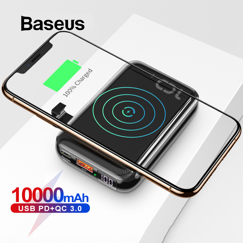 Baseus 10000mAh Qi Wireless Charger Power Bank For IPhone Samsung Huawei Powerbank PD Quick Charge 3.0 Portable External Battery