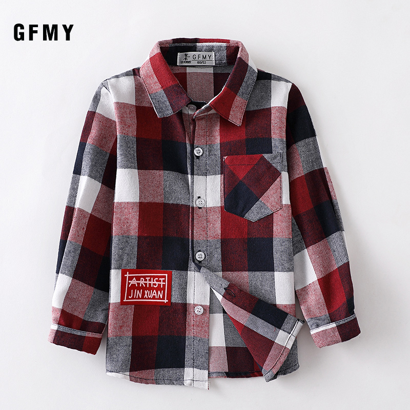GFMY 2019 Autumn 100% Cotton Full Sleeve Fashion kids Plaid Shirt 2T-14T Casual Big Kid Clothes Can Be a Coat