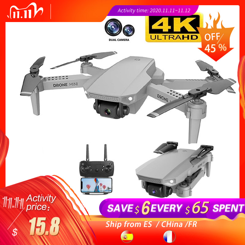 Clearance SaleE88 Drone Transmission Rc Quadcopter Dual-Camera Real-Time Follow-Me 1080p 4k with Wifi