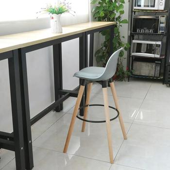 2 unids/set sillas modernas Silla de Bar blanco de madera de haya piernas superficie de PP Taburetes de Bar casa Oficina Sillas cocina comedor café sillas HWC