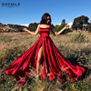Sexy Criss-Cross Back Long Prom Dresses Candy Color Strapless Satin Prom Gowns Spaghetti Strap Slit Evening Party Dresses 1