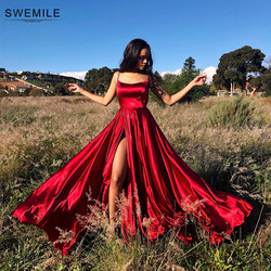 Sexy Criss-Cross Back Long Prom Dresses Candy Color Strapless Satin Prom Gowns Spaghetti Strap Slit Evening Party Dresses