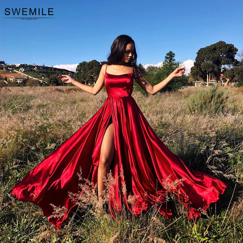 Sexy croisé dos longues robes de bal couleur bonbon bretelles Satin robes de bal Spaghetti sangle fente robes de soirée