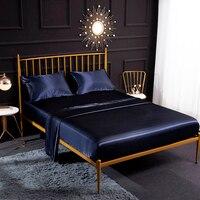 3/4 pcs Romantic Silk Bedding Set Soft Silk Satin Flat Sheet Fitted Sheet Pillowcase Set Home Textiles Twin/Full/Queen/King Size