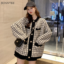 Cardigan Women Retro Plaid Loose Pocket Knitted Sweater Panelled Womens Outerwear Fashion Winter Warm Chic Ulzzang Classic Daily