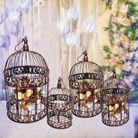 Gabbia di ferro uccello decorazione gabbia di uccello decorazione della famiglia gabbia appeso cornice di fiori gabbia per uccelli di nozze prop decorazione gabbia per uccelli