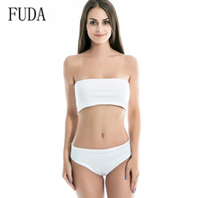 FUDA Double-layer High-quality Fabric Tube Top 2 Pieces Sets Sexy Swimsuits Hollow Out Sleeveless Summer Beach Casual Bodysuits