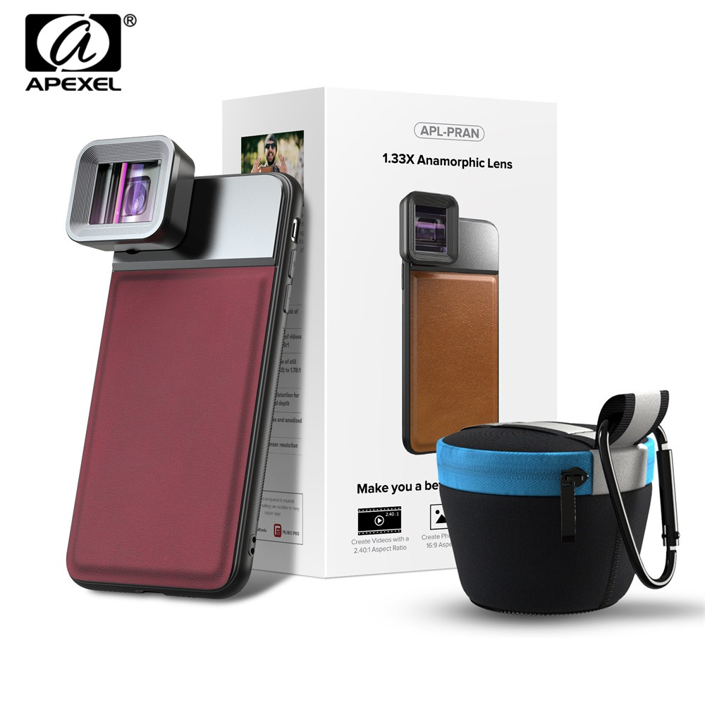 APEXEL Anamorphic Lens Widescreen Shooting Mobile-Phone Huawei with C-Mount-Case  title=