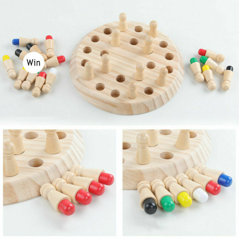 Kids Wooden Memory Match Stick Chess Game Educational Toys Brain Training Gifts  Color Cognitive Ability Toy