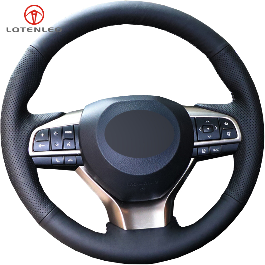 LQTENLEO Black Genuine Leather DIY Car Steering Wheel Cover For Lexus ES200 ES250 ES300h GS200 GS300h GS450h <font><b>RX200t</b></font> RX450h LX570 image