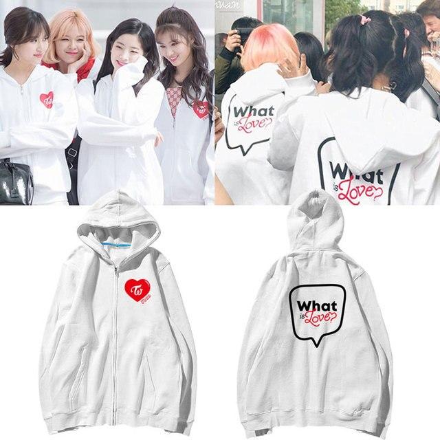 KPOP TWICE WHAT IS LOVE ZIP UP HOODIE Hoodie For women print Japan hooded Sweatshirt Korean loose tops ins tide Unisex Tracksuit