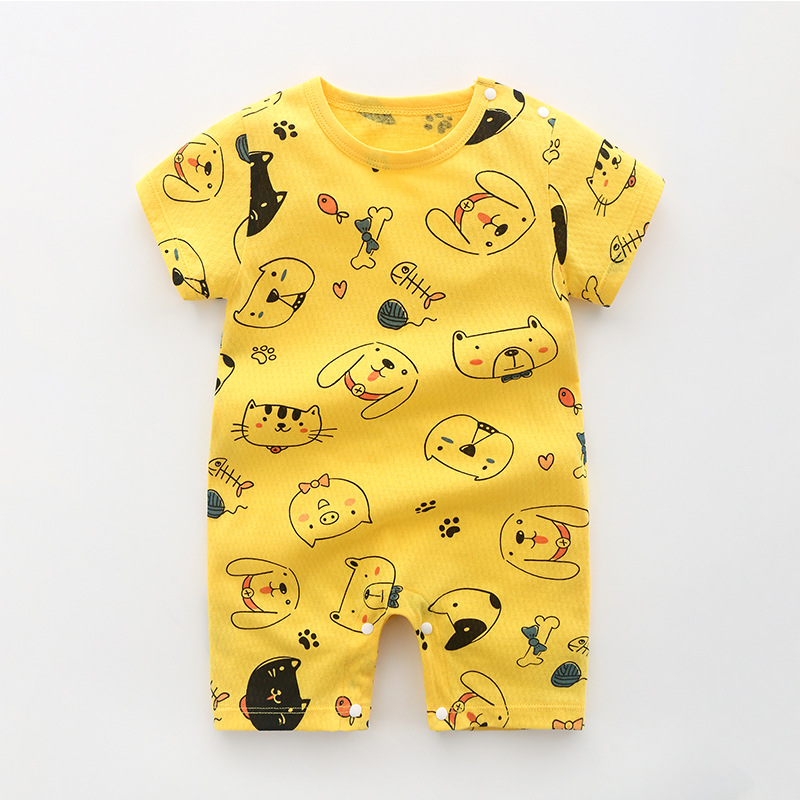 2019 New Fashion 100% Cotton Baby Bodysuit Short Sleeve Infant Jumpsuits Newborn Kids Clothing Baby Boys Girls Clothes 0-24M