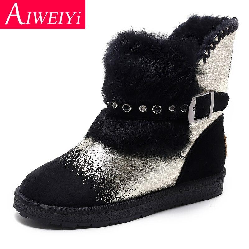 Cuir de vache femme bottines or argent chaussures plates laine fourrure garder au chaud bottes de neige chaussures confortables femme Botas Mujer
