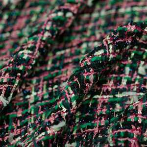 New Product Pink Dark Green Woven Small Fragrance Tweed Cloth Autumn Winter Women's Coat