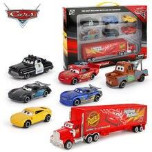 7 Pçs/set 3 Carro Da Disney Pixar Relâmpago McQueen Mack Caminhão Tio Jackson Tempestade 1:55 Diecast Metal Car Toy Modelo para Presente Do Menino